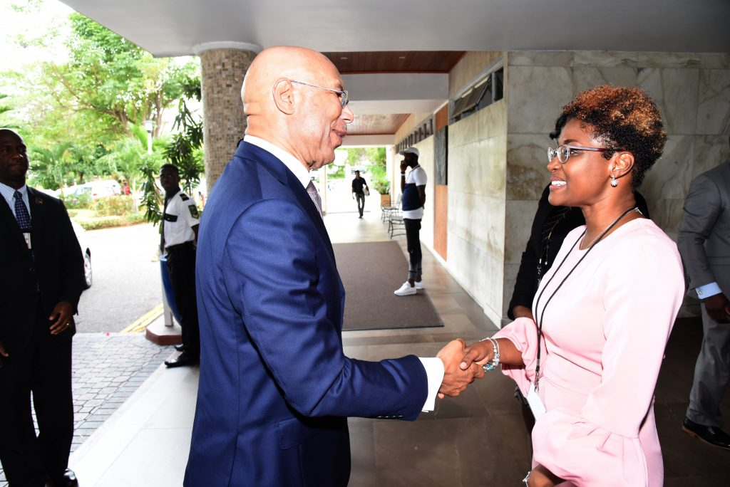 His Excellency The Most Honourable Sir Patrick Allen ON, GCMG, CD, KSt. J, Governor General of Jamaica greeted by Mrs. Pamela Monroe Ellis, Secretary General of CAROSAI and Auditor General of SAI Jamaica, at CAROSAI's 30th Anniversary Conference held on August 15-17, 2018 at The Jamaica Pegasus Hotel.