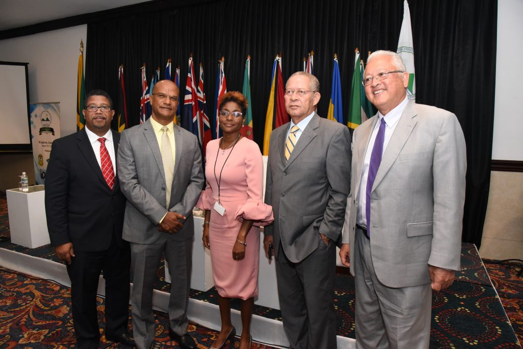 From L-R: The Hon. K. Peter Turnquest, MP. Deputy Prime Minister and Minister of Finance of the Commonwealth of the Bahamas; Mr. Peter Bunting, MP. Shadow Minister of Industry, Investment and Competitiveness, Jamaica; Mrs. Pamela Monroe Ellis, Secretary General of CAROSAI and Auditor General of SAI Jamaica; Mr. Bruce Golding, Former Prime Minister of Jamaica; and The Hon. Delroy Chuck, Minister of Justice at the first session of the CAROSAI 30th Anniversary Conference entitled