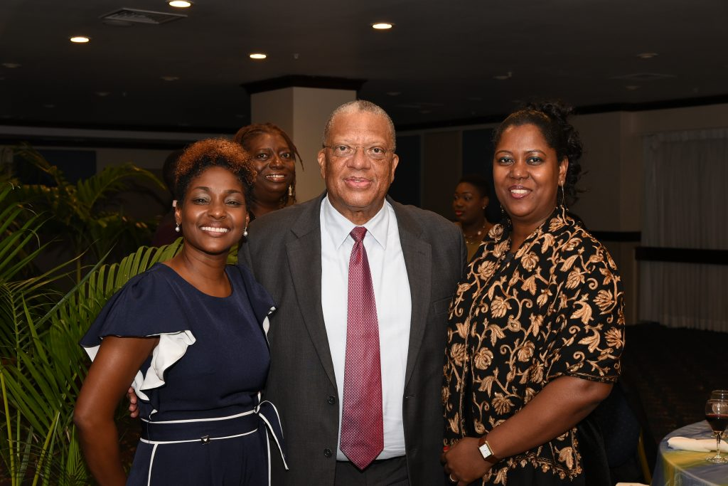 Dr. Peter Phillips, MP. (C) with Secretary General of CAROSAI and Auditor General of SAI Jamaica, Mrs. Pamela Monroe Ellis (L), and (R) Mrs. Charmain Felter, Chair of CAROSAI and President of SAI Suriname at the official dinner for CAROSAI's 30th Anniversary Conference.